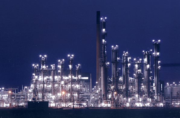 Oil & Gas plant at night